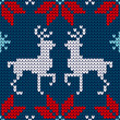 Seamless Pattern Knitted Rudolph & Snowflakes Red/Blue/White
