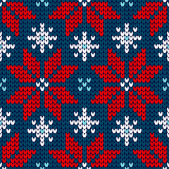 Seamless Pattern Knitted Poinsettia Red/Blue/White