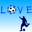 love football blue icon vector illustration