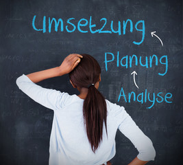 Woman looking at a chalkboard with success terms in german