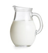 Leinwanddruck Bild - Milk glass jug or jar isolated. Clipping path with no shadows is