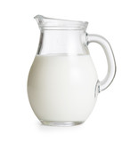 Milk glass jug or jar isolated. Clipping path with no shadows is