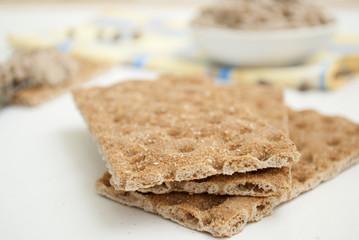 grain bread for breakfast with paste