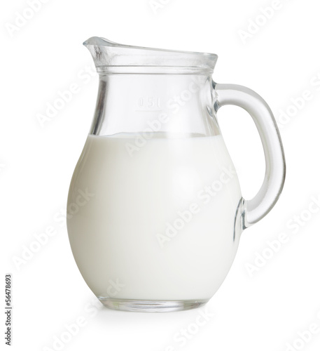 Leinwanddruck Bild Milk glass jug or jar isolated. Clipping path with no shadows is