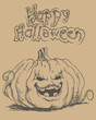 Happy Halloween sketch style hand drawn card