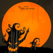 Vector Halloween Background with Scary Trees