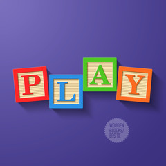 Wooden blocks arranged in the word PLAY