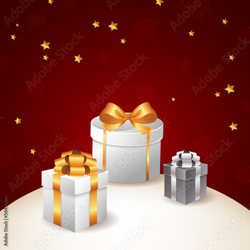 Vector Illustration of a Christmas Background with Gifts
