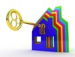 Fine 3d image of isolated key of dreams house