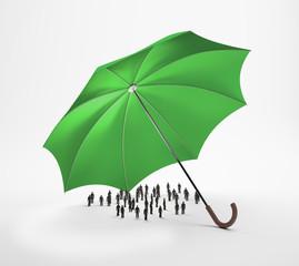 Tiny people under an umbrella