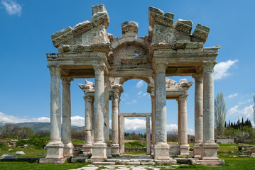 Ruins in the ancient Greek city of Afrodisias in Geyre, Turkey