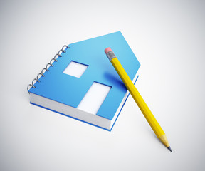 House shaped note pad