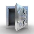 Safety deposit box on white background, 3D images