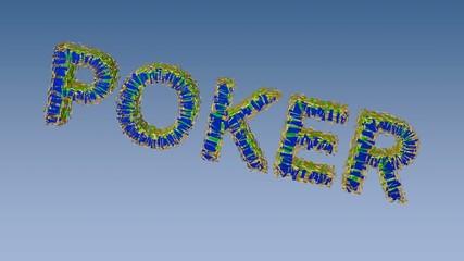 Animation the poker on blue background