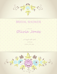 Bridal shower or wedding invitation or card