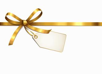 Goldene Schleife mit Etikett
