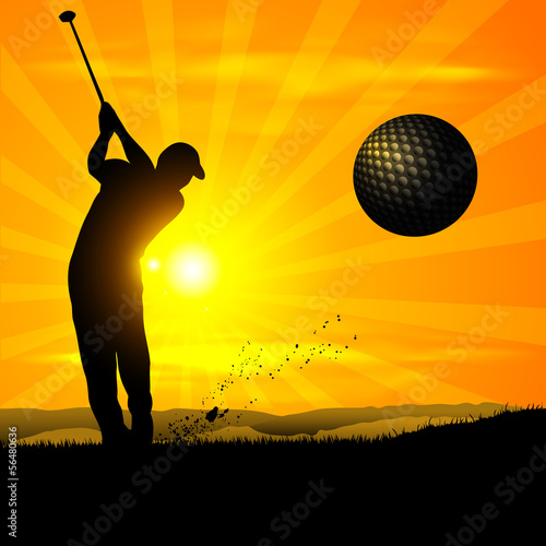 silhouette of the golfer