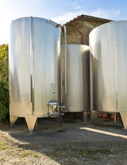 Steel vats for wine-making
