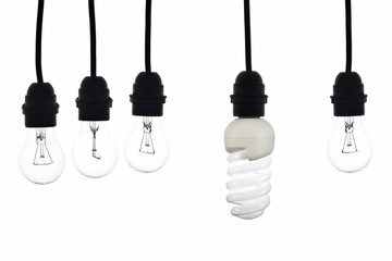 A light bulb with low consumption light bulbs hanging between