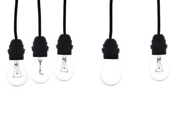 bulbs hanging on white background