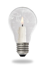 Candle lit steaming inside a light bulb