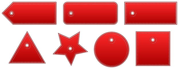 Red Leather Price Tags Set
