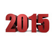 2015 in Bold Red 3D Text