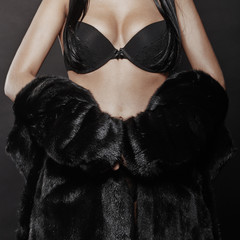 beautiful sexy woman in a fur.young woman in lingerie