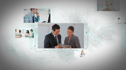 Animation of moving screens with different business situations