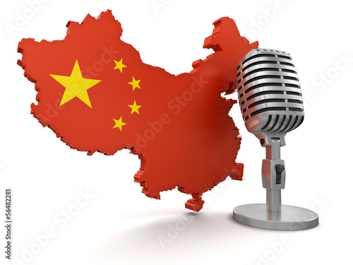 Microphone and China (clipping path included)