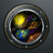 Round porthole to open space, planets, sun and star, vector