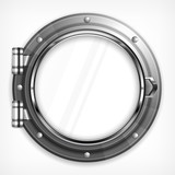 Boat round porthole seascape isolated on white, vector