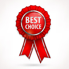 Red award label best choice with ribbon isolated on white,