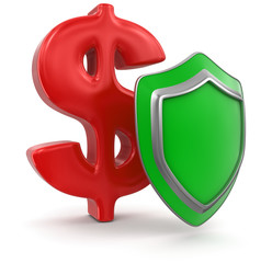 Dollar Sign and Shield (clipping path included)