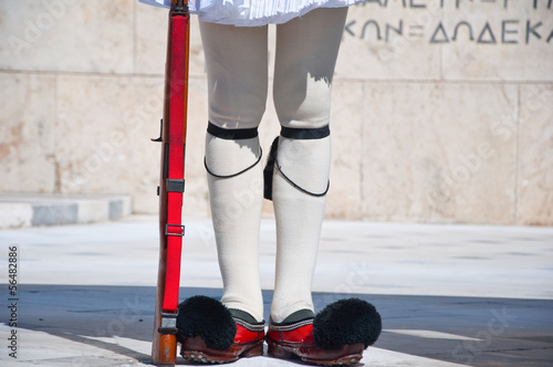 Evzone guards the Tomb of the Unknown Soldier.