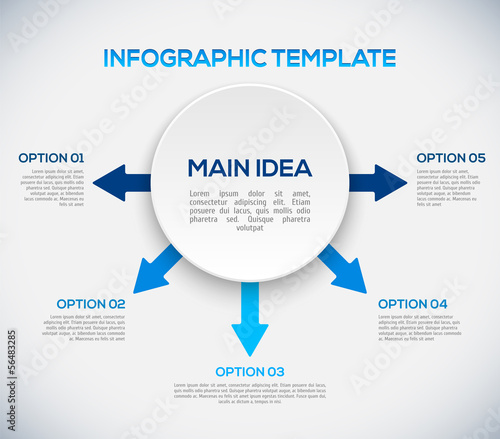 Infographics template with arrows and 3D circle.