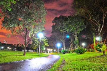 Bishan Park's walkway by night