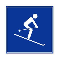 Cartel simbolo esquiador