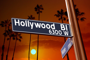 Hollywood Boulevard with Vine sign illustration on palm trees