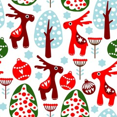 Seamless vector pattern with christmas balls, reindeer, tree