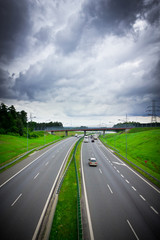 View of highway on a cloudy day, Poland