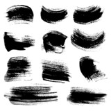 Textured brush strokes drawn ink  set 4