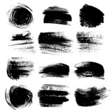 Textured brush strokes drawn ink  set 2