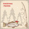 Christmas fishing card with fish in red Santa hat.Vector drawing