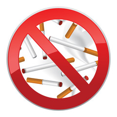 Sign forbidding to smoke. Symbol made of cigarettes background