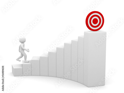 3d man running to the target on top of the stairs