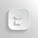 Synchronization icon with arrows - vector white app button
