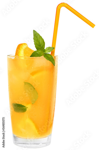 Cocktail with orange juice and ice cubes decorated leaf mint
