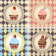 Vector illustration of colorful cupcake set
