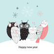 Winter card with owls